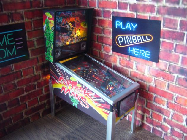 Attack from Mars 1/12th Scale Miniature Pinball Table Model